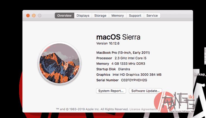 Sekarang kita klik system info di about this mac