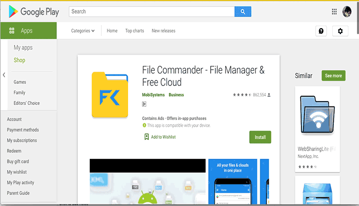 File Commander Play Store