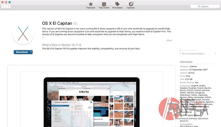 macOS El capitan di Mac App Store