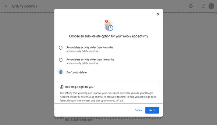 Pilih autio delete di Google Activity