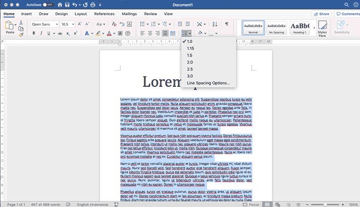 menu line and paragraph spacing di office word
