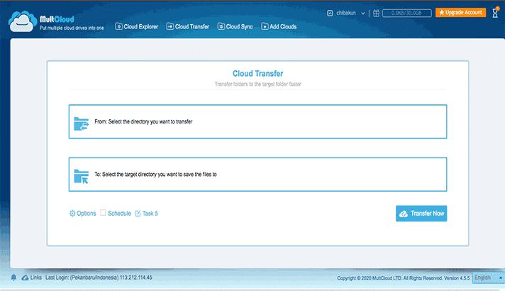 Transfer file dari drive sumber ke drive tujuan