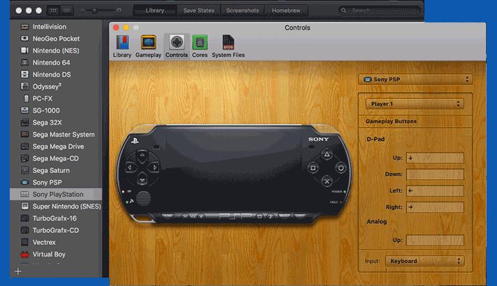 Pengaturan controller untuk main game PSP di macOS