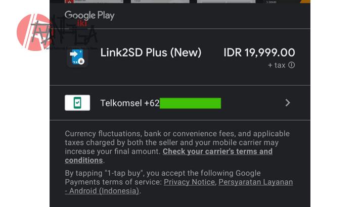 Pilih telkomsel untuk membeli aplikasi di Play Store